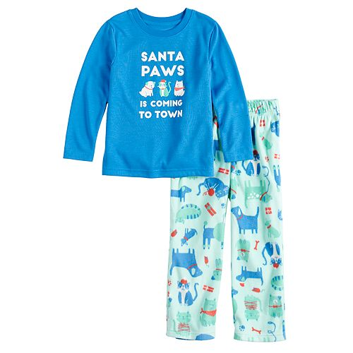 """Toddler Jammies For Your Families """"Santa Paws is Coming to Town"""" Top & Microfleece Dog & Cat Pattern Bottoms Pajama Set"""