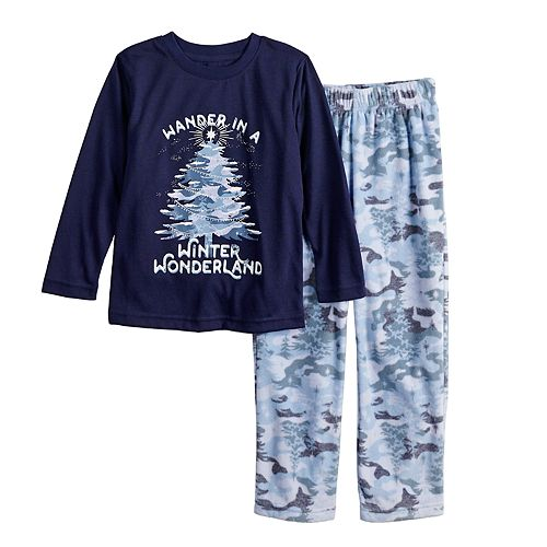 "Toddler Jammies For Your Families Holiday Camouflage ""Wander in a Winter Wonderland"" Top & Microfleece Bottoms Pajama Set"