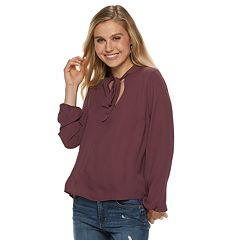 Juniors' Grayson Threads Tie Neck Woven Top