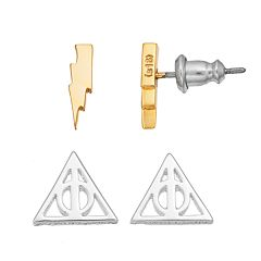 Harry Potter Sign of the Deathly Hallows & Lightning Bolt Stud Earrings