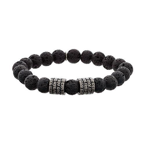 LYNX Men's Lava Bead Strech Bracelet