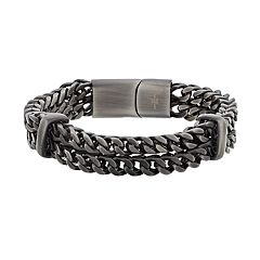 LYNX Men's Stainless Steel Double Row Chain Bracelet