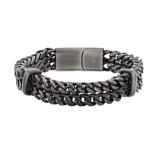 LYNX Men's Stainless Steel Double Row Chain Bracelet