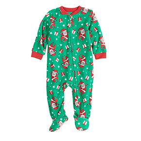 Baby/Infant Jammies For Your Families Santa Pattern Microfleece Blanket Sleep One-Piece Pajamas