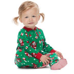 Baby/Infant Jammies For Your Families Santa Pattern Microfleece Blanket Sleep One-Piece Pajamas