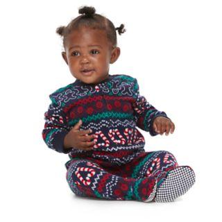 Baby/Infant Jammies For Your Families Gingerbread Man Holiday Fairisle Microfleece Blanket Sleeper One-Piece Pajamas