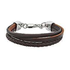 LYNX Men's Triple Strand Brown Leather Bracelet