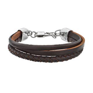 LYNX Men's Triple Strand Brown Leather Bracelet