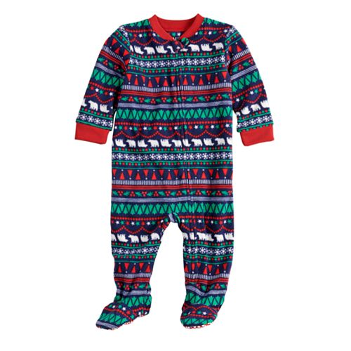 Baby/Infant Jammies For Your Families Happy Holidays Fairisle Family Pajamas Microfleece Blanket Sleeper Footed Pajamas