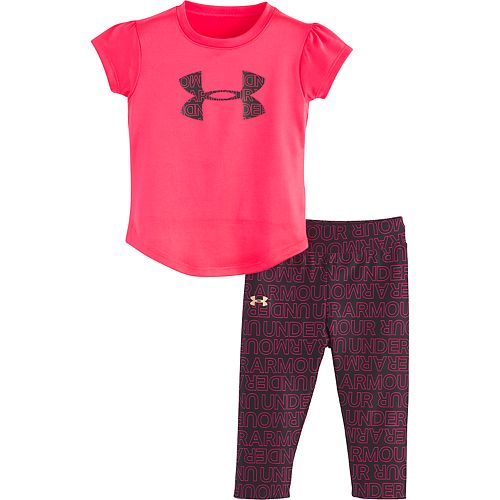 Baby Girl Under Armour Logo Graphic Tee & Word Print Leggings Set
