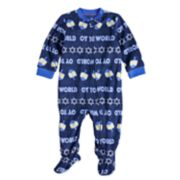 "Baby/Infant Jammies For Your Families Hanukkah ""Oy to the World"" Microfleece One-Piece Pajamas"