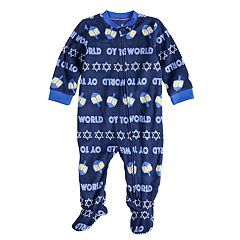 Baby/Infant Jammies For Your Families Hanukkah 'Oy to the World' Microfleece One-Piece Pajamas
