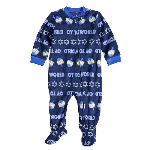 """Baby/Infant Jammies For Your Families Hanukkah """"Oy to the World"""" Microfleece One-Piece Pajamas"""