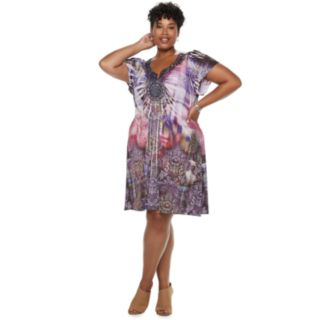 Plus Size World Unity Bollywood Short Sleeve Dress
