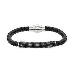 LYNX Men's Textured Bar Black Leather Bracelet