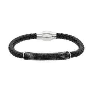 LYNX Men's Textured Bar Black Leather Bracelet
