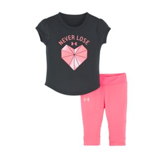 """Baby Girl Under Armour """"Never Lose"""" Heart Graphic Tee & Performance Capris Set"""