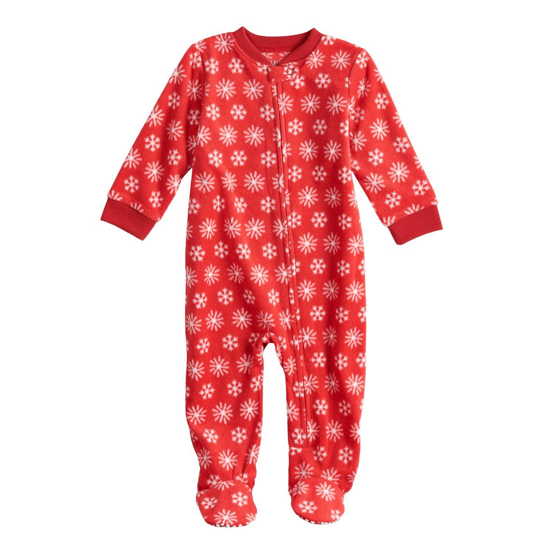 Infant Boys Red Fleece Football Blanket Sleeper Sleep /& Play Footie Pajamas