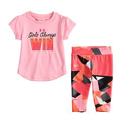 Toddler Girl Under Armour 'Girls Always Win' Graphic Tee & Geometric Leggings Set