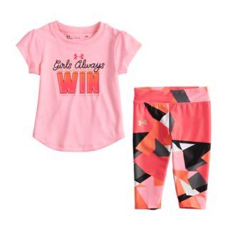 "Baby Girl Under Armour ""Girls Always Win"" Graphic Tee & Geometric Leggings Set"