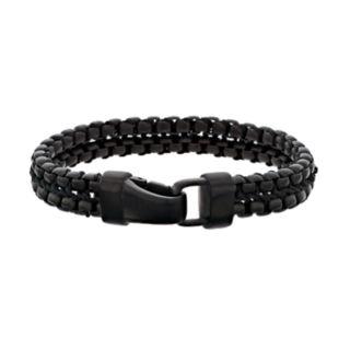LYNX Men's Black Stainless Steel Double Row Bracelet