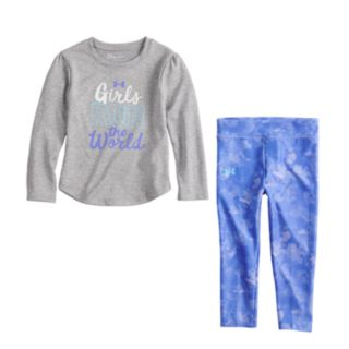 "Baby Girl Under Armour ""Girls Run The World"" Graphic Tee & Cloud Leggings Set"