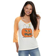 Juniors' Peanuts Pumpkin Halloween Tee