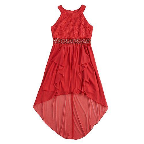 Girls 7-16 My Michelle Ruffle High-Low Halter Dress