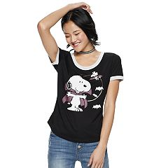 Juniors' Peanuts Snoopy & Woodstock Bat Ringer Tee