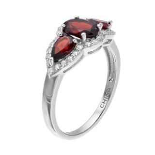 Sterling Silver Garnet & White Topaz 3-Stone Ring