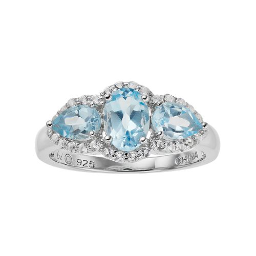 Sterling Silver Blue & White Topaz 3-Stone Ring