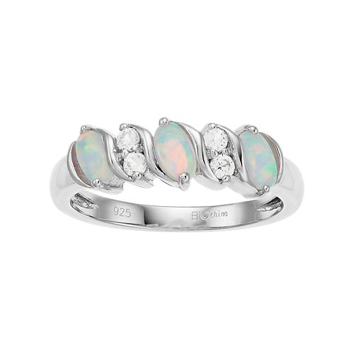 Sterling Silver Lab-Created White Opal & White Topaz 3-Stone Ring