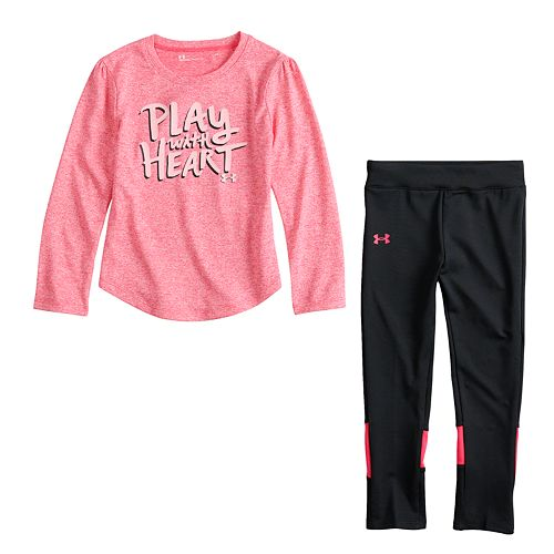 "Baby Girl Under Armour ""Play With Heart"" Graphic Tee & Colorblock Leggings Set"