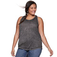 Juniors' Plus Size SO® Racerback Ringer Tank
