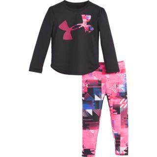 Baby Girl Under Armour Logo Graphic Tee & Geometric Leggings Set