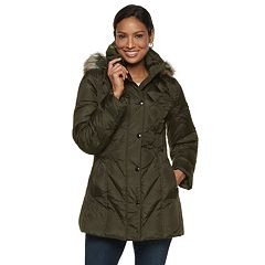 Women's TOWER by London Fog Hooded Faux-Fur Down Puffer Coat