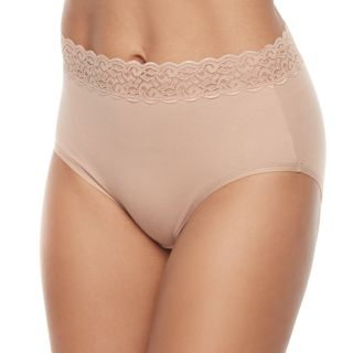 Vanity Fair Flattering Lace Cotton Stretch Brief Panty 13396