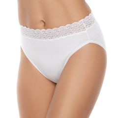 Vanity Fair Flattering Lace Cotton Stretch Hi-Cut Panty 13395