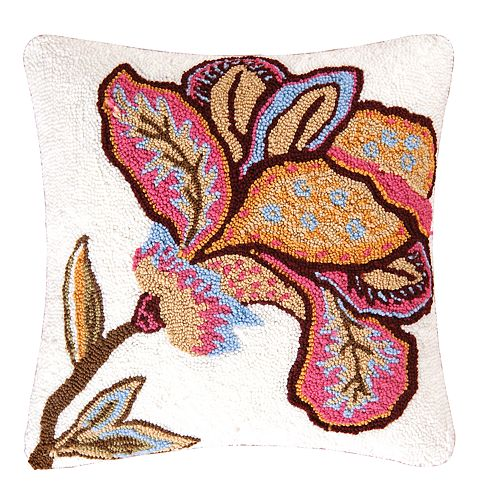 Carol & Frank Bethany Flower Hooked Throw Pillow