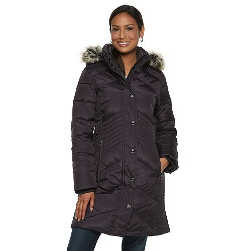 Women's TOWER by London Fog Faux-Fur Collar Down Puffer Coat