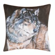 Carol & Frank Indoor Outdoor Wolf Throw Pillow