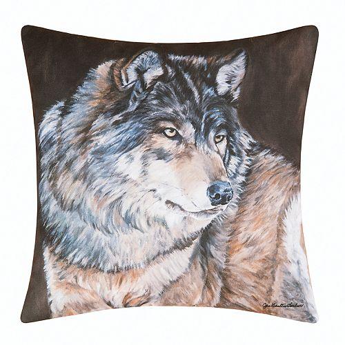 Carol & Frank Indoor Outdoor Wolf Throw Pillow