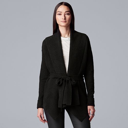 Women's Simply Vera Vera Wang Cozy Tie-Front Cardigan Sweater
