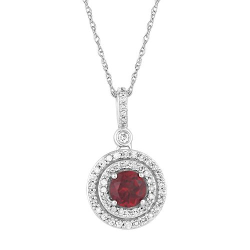 10k White Gold Garnet & 1/4 Carat T.W. Diamond  Halo Pendant Necklace