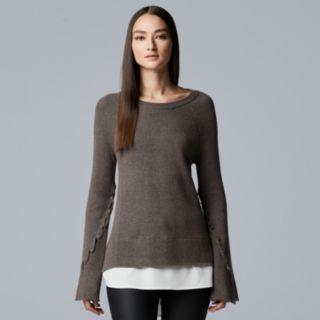 Women's Simply Vera Vera Wang Mock-Layer Bell Sleeve Sweater