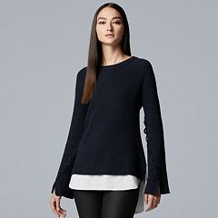 Women's Simply Vera Vera Wang Mock-Layer Bell Sleeve Sweater
