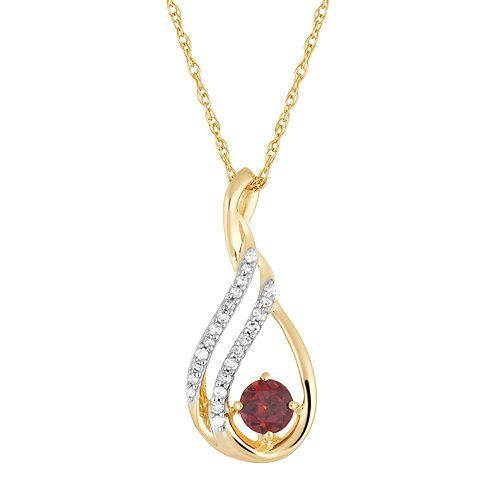 10k Gold Garnet & Diamond Accent Teardrop Wrap Pendant