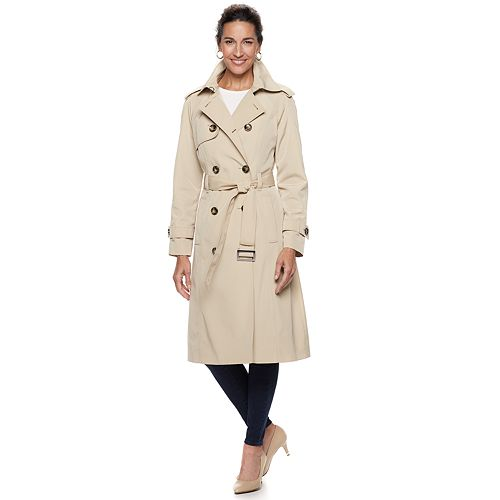Women's TOWER by London Fog Double-Breasted Belted Trench Coat