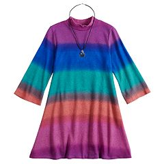 Girls 7-16 My Michelle Rainbow Striped Mockneck Dress