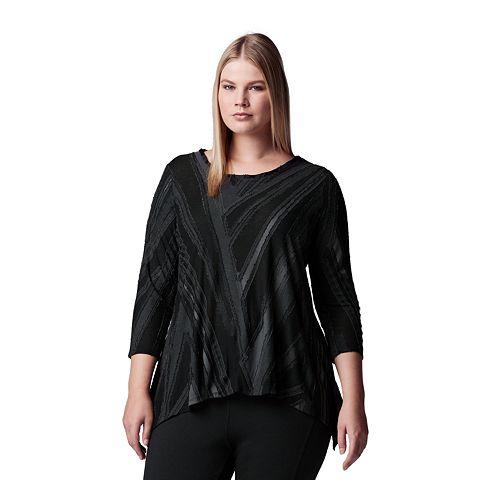 Plus Size Simply Vera Vera Wang Textured Asymmetrical Top